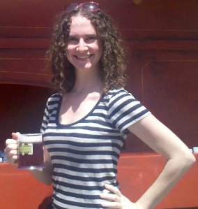 Joie holding a butterbeer